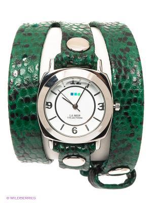 Часы La Mer Collections. Цвет: темно-зеленый, серебристый, черный