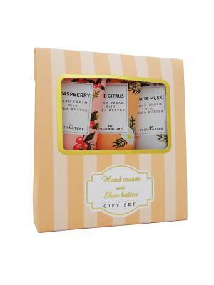 Набор кремов для рук с маслом Ши (красный апельсин, белый мускус, малина) Echoice. Цвет: розовый
