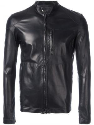 Кожаная куртка на молнии Salvatore Santoro. Цвет: синий