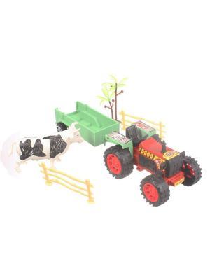 Игровой набор Ферма, трактор с прицепом, корова, декорации Радужки. Цвет: зеленый, красный, серый