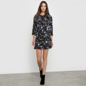 Платье с рисунком и рукавами 3/4 SUNCOO. Цвет: черный/ желтый