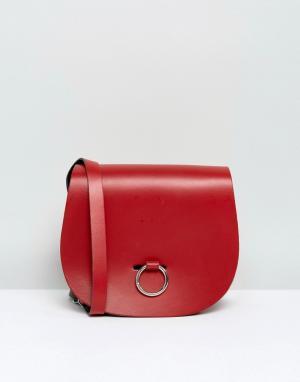 Leather Satchel Company Сумка с застежкой-кольцом. Цвет: красный