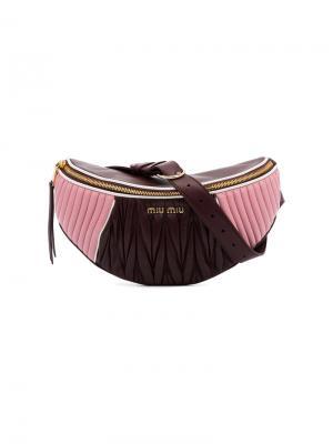 Стеганая поясная сумка Miu. Цвет: розовый и фиолетовый