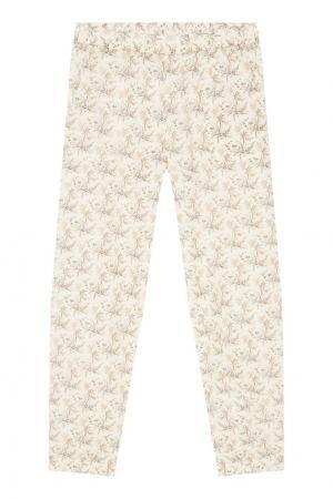 Хлопковые брюки с цветочным принтом Bonpoint. Цвет: бежевый