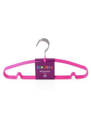 Набор вешалок из 5 штук Розовые EL CASA. Цвет: розовый