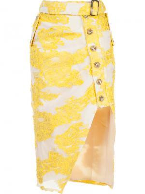 Асимметричная юбка Filcoupé Self-Portrait. Цвет: жёлтый и оранжевый