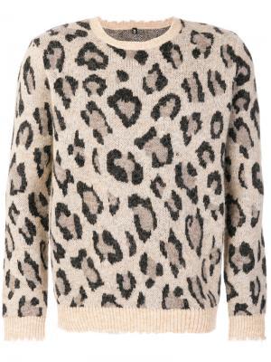 Джемпер с леопардовым принтом R13. Цвет: телесный