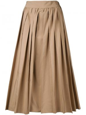 Укороченные брюки со складками Muveil. Цвет: коричневый