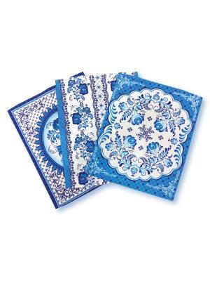 Комплект вафельных полотенец Гжель ZLATA KORUNKA. Цвет: голубой