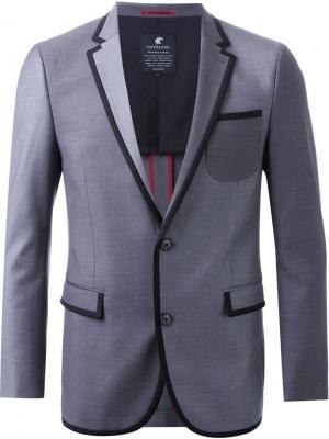 Пиджак с контрастной окантовкой Loveless. Цвет: серый