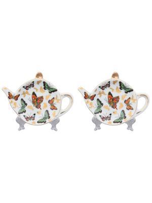 Набор из 2-х розеток под чайный пакетик Бабочки Elan Gallery. Цвет: золотистый, желтый, зеленый
