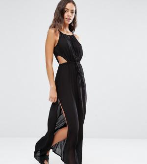Akasa Пляжное платье макси с вырезом капелькой. Цвет: черный