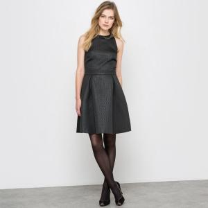 Платье с жаккардовым рисунком и американской проймой рукавов R édition. Цвет: черный
