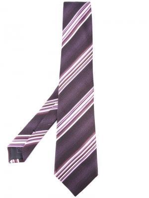 Галстук в полоску Brioni. Цвет: розовый и фиолетовый