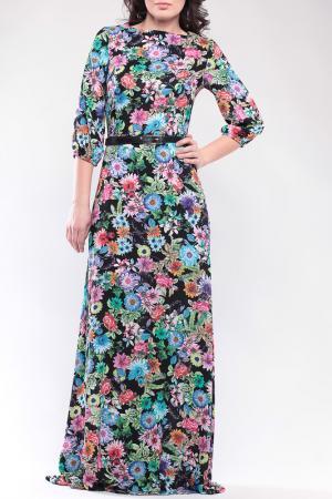 Платье Dioni. Цвет: черный, цветочный принт