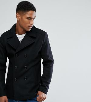 Jack & Jones Шерстяное пальто-бушлат Originals. Цвет: черный