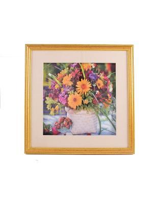 Картина-коллаж 3D Герберы 35*35*3см Русские подарки. Цвет: светло-зеленый, бледно-розовый, красный, фуксия, розовый, персиковый