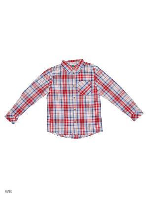 Рубашка United Colors of Benetton. Цвет: синий, красный