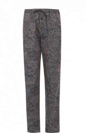 Домашние брюки прямого кроя с принтом Hanro. Цвет: серый