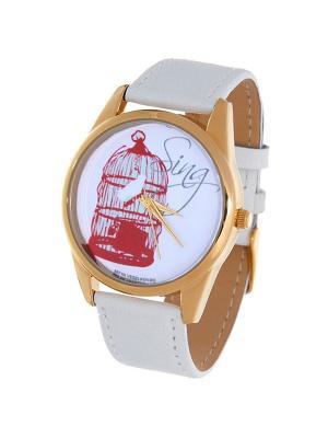 Часы Mitya Veselkov Птичка в клетке. Цвет: белый