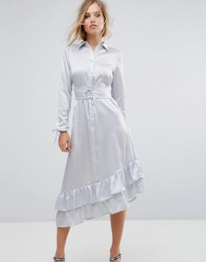 Lost Ink Платье миди с отделкой в стиле корсета. Цвет: серый