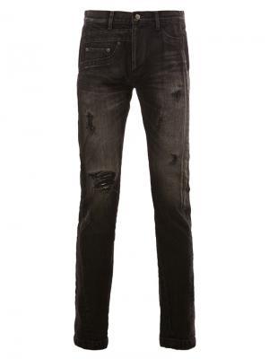 Рваные потертые обтягивающие джинсы Maison Mihara Yasuhiro. Цвет: чёрный