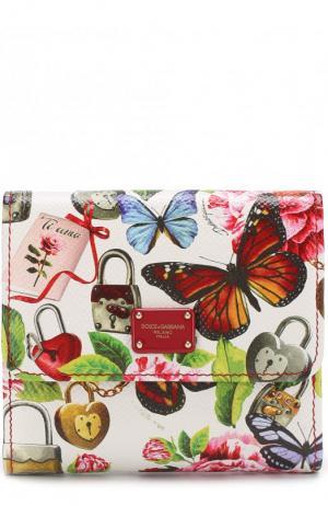 Кожаный кошелек с клапаном и принтом Dolce & Gabbana. Цвет: белый