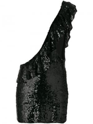 Платье на одно плечо в пайетках Filles A Papa. Цвет: чёрный