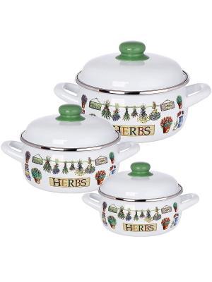 Набор посуды 6 предметов (2,5л, 3,35л, 5,3л) мет.крышки METROT. Цвет: зеленый, белый