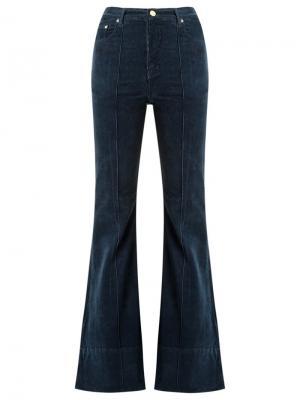 Расклешенные бархатные брюки Amapô. Цвет: синий