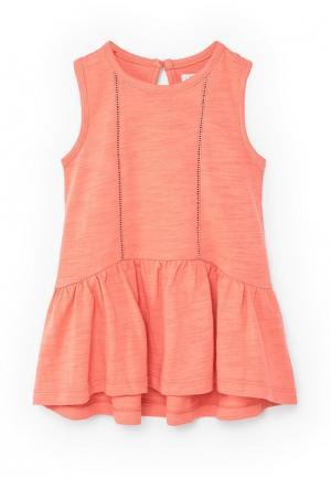 Платье Mango Kids. Цвет: оранжевый