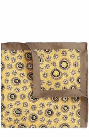Шелковый платок с узором Kiton. Цвет: желтый