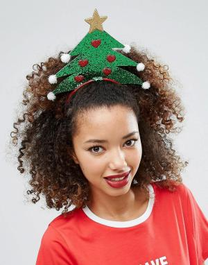 ASOS Ободок с новогодней ёлкой. Цвет: зеленый