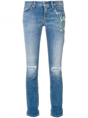 Ripped knee cropped jeans Cambio. Цвет: синий