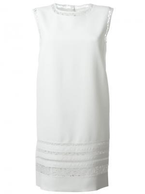 Платье шифт с кружевной отделкой Ermanno Scervino. Цвет: белый
