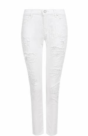 Укороченные джинсы прямого кроя с потертостями и платком Jacob Cohen. Цвет: белый