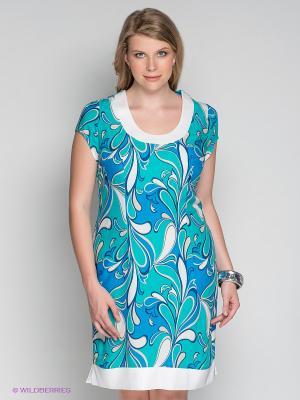 Платье Klimini. Цвет: бирюзовый, белый, синий