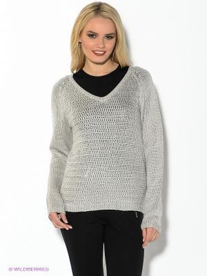 Пуловер Oodji. Цвет: светло-серый