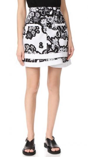 Принтованная юбка Carven. Цвет: белый