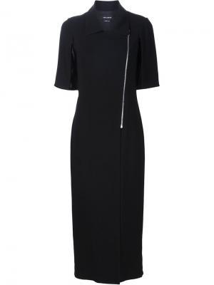 Платье с застежкой в байкерском стиле Yigal Azrouel. Цвет: чёрный