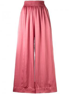 Широкие укороченные брюки Forte. Цвет: розовый и фиолетовый