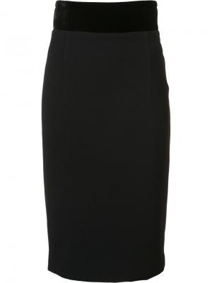 Приталенная юбка с контрастным поясом Brandon Maxwell. Цвет: чёрный