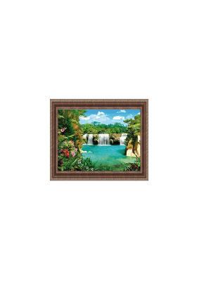 Тропический рай В114 Картина в раме 25х35 PROFFI. Цвет: голубой, зеленый, коричневый