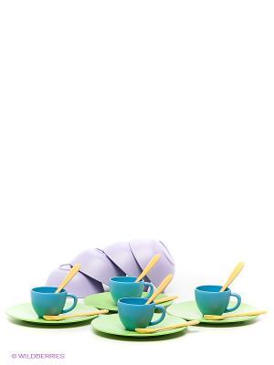 Набор столовой посуды Green Toys. Цвет: зеленый, голубой, фиолетовый