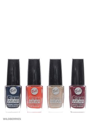 Bell Товар Спайка лак для ногтей устойчивый с глянцевым эффектом glam wear nail т504+т417+т404+т421. Цвет: темно-синий, светло-бежевый, фуксия, розовый