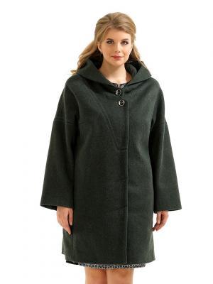 Пальто LikModa. Цвет: темно-зеленый