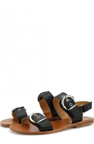 Кожаные сандалии с ремешками Gallucci. Цвет: черный