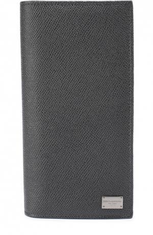 Кожаное портмоне с отделением для кредитный карт Dolce & Gabbana. Цвет: серый