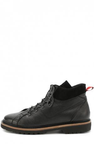 Кожаные ботинки на шнуровке Kiton. Цвет: черный