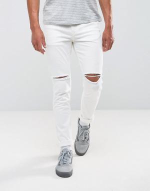 Antioch Белые рваные джинсы скинни. Цвет: белый